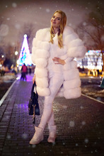 Autumn Winter X-long Russian Style christmas Real Fox Fur coats 90CM detachable Sleeve natural fox fur transformer trench coats(China)