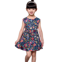 Flower Girls Dress Summer Spring Fashion Clothes Sleevess Floral Kids Dresses for Girls Birthday Dress