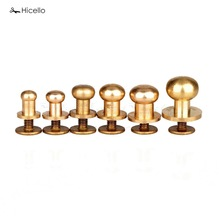 Buy Hicello 10Pcs/Set Solid Brass Rivet Round Head Button Belt Screw Chicago Screw Button Studs Leather Craft Tool Accessories for $1.81 in AliExpress store