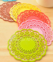 Set of 6 Lovely Cute Sweet Semitransparent Lace Cup Mat Silicone Rubber Coaster for Wine, Glass, Tea  V1714