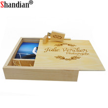 SHANDIAN Photo Album Wooden usb + Box USB flash drive Memory stick Pendrive 4GB 8GB 32GB Photography Wedding gift Free LOGO(China)