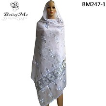 BM247! African Women Scarfs ,2017 African muslim embroidery women scarf ,Pure white big scarf for shawls wraps