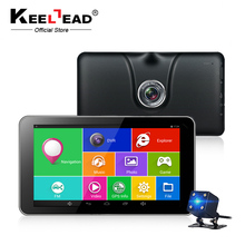 KEELEAD 7 inch car Android GPS navigation Capacitive 512MB 16GB Bluetooth WIFI car DVR dash camera dual cameras 1080P record(China)