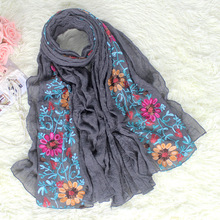 New Style Gray Chinese Women Cotton Scarves Shawls Embroidery Flower Stole Pashmina Spring Autumn Wrap Hijab 180*80 cm NP103