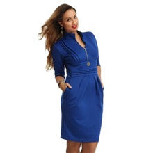 Women Spring Dress Large Size European Pure Color Sexy v-Neck Pockets Hip Mini Dress Pencil Dresses New Arrival