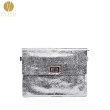 CRACKED METALLIC ENVELOPE CLUTCH BAG - Women's Faux Leather Large Dazzling Sparkling Glitter Evening Party Flap Cross Handbag
