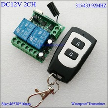 DC 12V 2CH Mini Relay Remote Control Switch Learning Code ASK Wireless Switch NO COM NC Contact RF RX TX 315/433 Waterproof TX