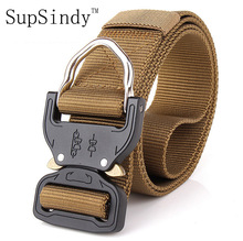 SupSindy men's canvas belt Metal insert buckle military nylon Training belt Army tactical belts for Men Best quality male strap