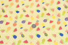 1 meter cotton linen fabric with cartoon fruit watermelon prints, handmade doll cloth baby's garment dress fabric CR-571