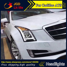 Free shipping ! Car styling LED HID Rio LED headlights Head Lamp case for Cadillac ATS Bi-Xenon Lens low beam
