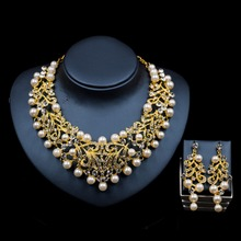 LAN PALACE new arrivals  gold color simulated pearl jewellery sets for women engagement necklace and earrings   free shipping