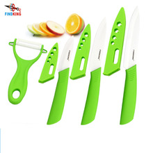"FINDKING Brand four-piece ceramic knife set  3"" 4"" 5"" inch+peeler+Covers green handle kitchen knives ceramic paring knives"