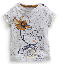 Retail Brand 2017 New babyKids Girls Tshirt Child Clothing Childrens Tops Summer Clothes Short Sleeve Tee blouse shirts Cartoon(China)