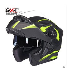 GXT flip up motorcycle helmet double lense full face helmet Casco Racing Capacete with inner sun visor can put bluetooth headset(China)