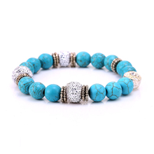 JM Blue  Natural Stone Disco Ball Bracelets for Women Men Jewelry With Alloy Elastic Bangle pulseira