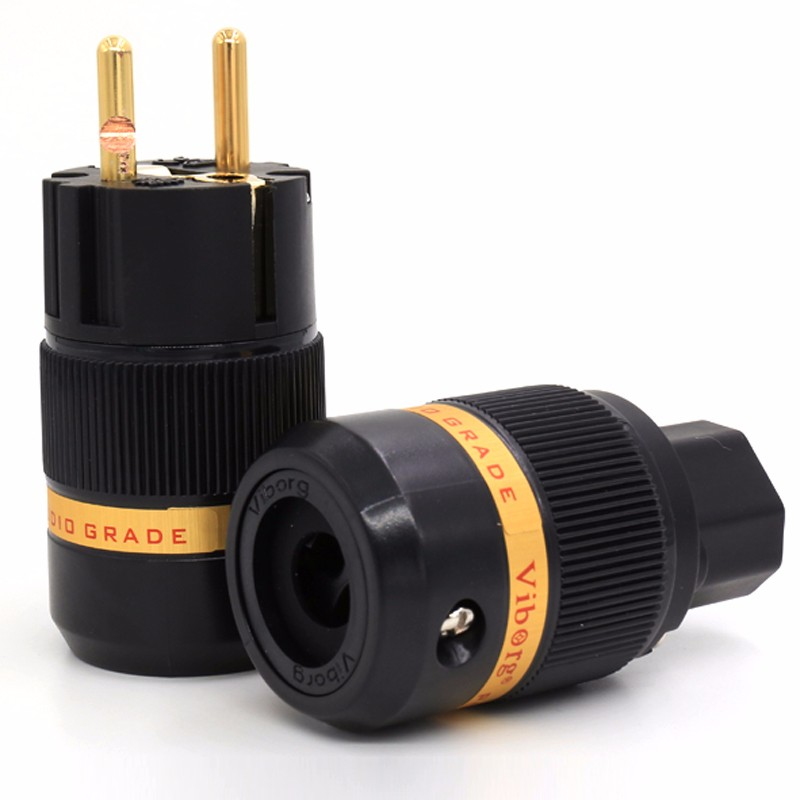 Free shipping one pair Viborg Audio Pure Copper Gold Plated EU Schuko Power Plug+ IEC Connector jack for DIY Hifi Electrical Pow<br><br>Aliexpress