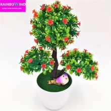 New arrival decorative flowers & wreath Artificial flower bonsai Set fake flower plant pine trees with vase free shipping