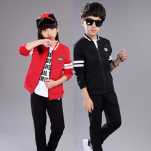 Children Clothing Set Boys Girls Jacket Pants 2 Pieces Sports Suit Red Black Christmas Wears Big Kids Teenagers School Outfits