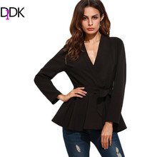 DIDK Womens Casual Black Blazer Women Blazer Fashion Designers 2017 Long Sleeve Surplice Wrap Peplum Fitted Blazer(China)