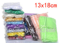 Wholesale Organza Bags 13x18cm,Drawable Wedding Gift Bags & Pouches,300pcs/lot(China)