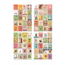 4 Sheets(80PCs) Vintage Retro Paper Stickers Stamps Album DIY Decoration Sticker Diary Post Scrapbooking Album Stationery DIY