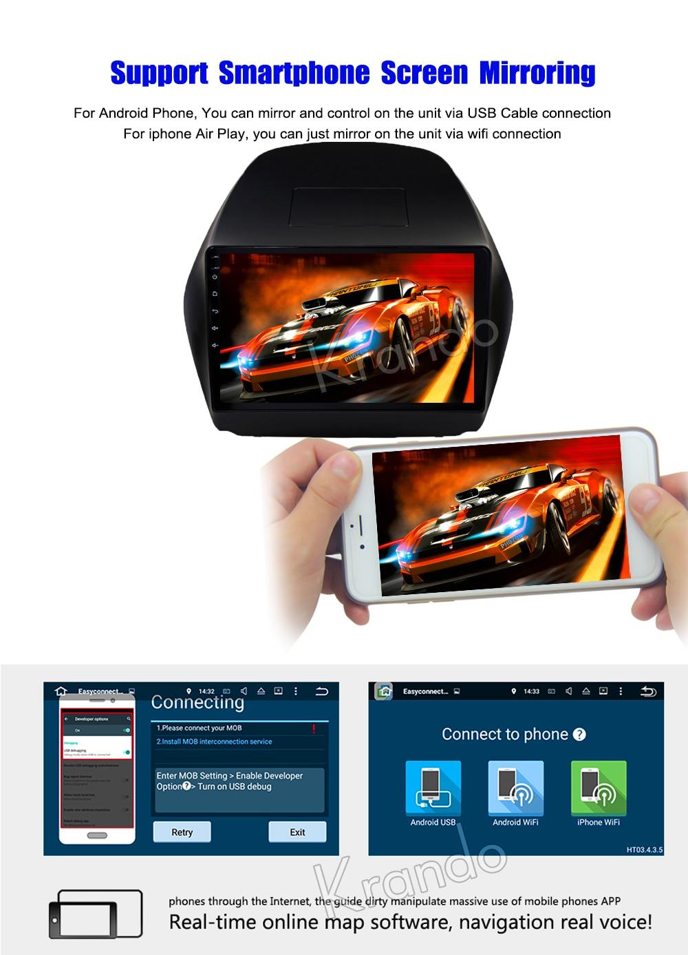 Krando Android car radio gps navigation multimedia system for Hyundai TUCSON 2009 2010 2012 2011 2013 2014