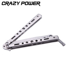 CRAZY POWER Practice Butterfly Flail Folded Survival Knife Tactical Camping Bladeless Cutter Stainless Balisong Training Knifes