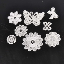 10-50pcs mixed Flower pattern Lace Applique Mesh Trim For Garment Accessories Decoration Sew On Guipure Lace Fabric CP1501
