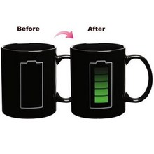 350ml High Quality Ceramic Coffee Tea Milk Cup Mug Battery Pattern Hot Cold Heat Sensitive Color Changing Mug Cup