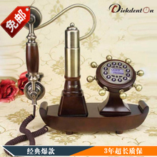 European garden wood antique vintage retro technology telephone with caller ID telephone equipment Home Furnishing rustic phone(China)