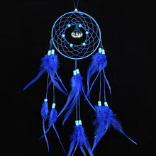 55cm Handmade Blue Craft Dream Catcher Net Circular With Feather Car Ornament Wall Hanging Gift(China)
