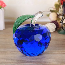 6 CM Faceted Crystal Glass Apple figurines miniatures Handmade Cut feng shui decorations Craft Gift for home decor with gift box(China)