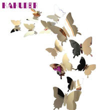 KAKUDER Wall Stickers Decal Butterflies 3D Mirror wall sticker Art Home Decors Refrigerator Sticker IUT6523 DROP SHIP(China)