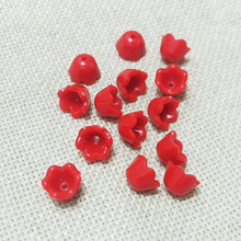 red spring color flower beads fiber caps baby girls necklace end tassels earrings findings spacer Charms rope clasp Connector(China)