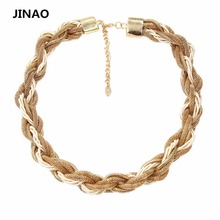 2015 New Arrival Jinao Rushed Collares Mujer Jewelry Gold Filled Chain And Rope Twisted Necklaces Choker Necklace For Women.Gift