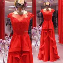 Real Sample Photo A Line Cap Sleeve Illusion Neckline Chiffon Ruffle Red Prom Dress Keyhole Back Formal Evening Gown
