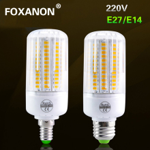 Foxanon New 5730 E27 E14 Led corn lamp 24 - 136leds AC 220v bulb light Spotlight Replace 20W 50w 100w 120W Incandescent Lighting