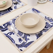 2016 Behome Cotton lace series cotton fabric printing custom coaster placemat Chinese style blue and white porcelain wholesale