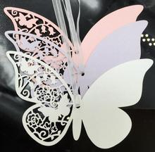 200pcs Butterfly Wish Greeting Card Paper Ribbon For Wedding Christmas Party Gift Label Bookmark Luggage Label Price Hang Tag