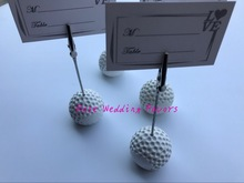 10pcs/Lot+Sports Collection White Golf Ball Place Card Holder Name Card Clip Party Decoration Favors+FREE SHIPPING(China)