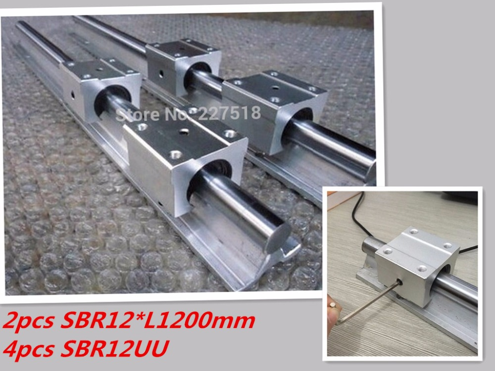 12mm linear rail SBR12 1200mm 2 pcs and 4 pcs SBR12UU linear bearing blocks for cnc parts 12mm linear guide<br>