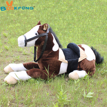 BOOKFONG 100CM Simulation Horse Plush Toy Prone Horse Doll Photograph Prop Children Birthday Gift