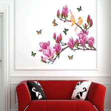 Free shipping Removable Flower Home Art Decor Wall Stickers Chaste magnolia purple Mural Wall Paper Stickers supplier AY1903
