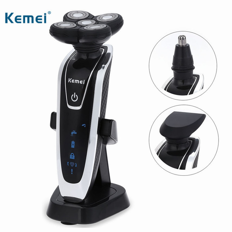 Kemei 3 in 1 Rechargeable Electric Shaver Replaceable 5 Blade Washable Electric Shaving Razor for Men Face Care Floating Heads<br>