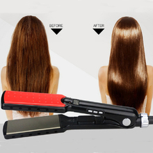 "Unique ""7"" Shape Design Hair Straightener Negative Ion Function Brand 1 3/5 inch 100% Tourmaline Ceramic Heating Plate(China)"