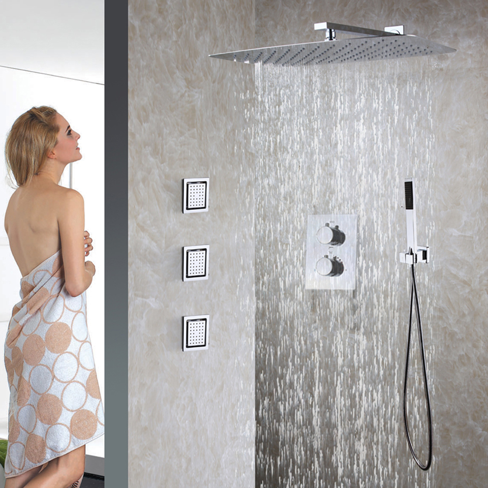 Bathroom Thermostatic Shower Faucet Set 55X35 CM Ultra-thin Rain Shower Head Easy-Installation Embedded Box Shower Valve