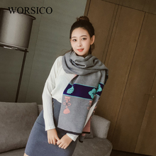 WORSICO Hot Winter Two Sides Warm Thicken Print Shawls And Scarves For Women Cashmere Scarf Wrap Big Size 200*70cm(China)