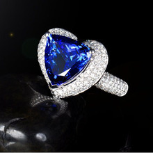 6 Carat tanzanite diamond jewelry 18K White Gold ring for engagement  Women gemstone blue real heart brand 2015 certificated