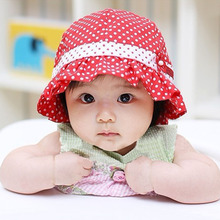 Baby Girl Boy Sun Hats, Lovely Dot Printed Cap for Baby, Summer Outdoor Bucket Hat, Baby Head Decoration Props For Photography(China)