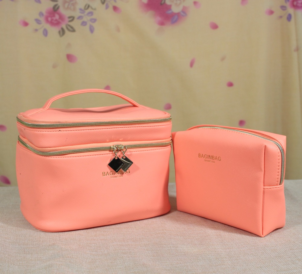 Fashion Orange Cosmetic Bags Set Makeup bag Pu Makeup Organizer Bags For Women; Not Including the Cosmetics And Makeup<br>